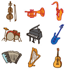 musical instruments hand drawn icons in vector