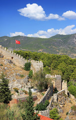 View of ancient fortress in historic center of Alanya