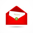 Red Envelope letter Merry Christmas white card