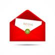 Red Envelope letter Merry Christmas white card