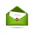Green Envelope letter Merry Christmas white card, Vector