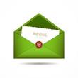 Green Envelope letter Merry Christmas white card, Vector