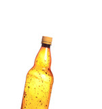 Isolated brown plastic bottle of beer drink without label on a w