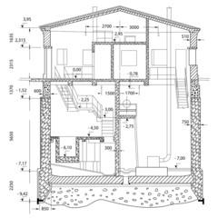 project of ground floor. vector house blueprint