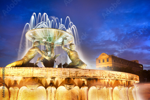 The Triton Fountain at the entrance of Valletta, Malta