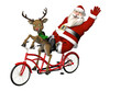Santa and Reindeer - Bicycle Built for Two
