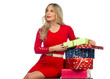 attractive woman with gifts