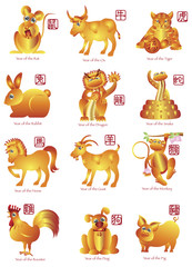 Chinese Twelve Zodiac Animals Illustration