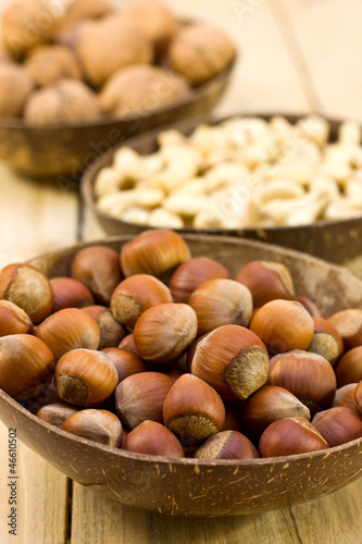 hazelnuts and walnuts, cashews