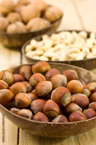 hazelnuts and walnuts, cashews