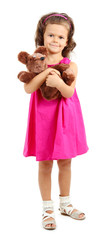 beautiful little girl with toy bear isolated on white