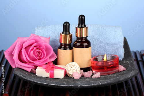 spa setting  on  blue background