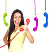 Busy Woman Shouting a Red Phone