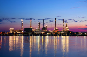 petrochemical oil refinery factory pipeline in the morning near