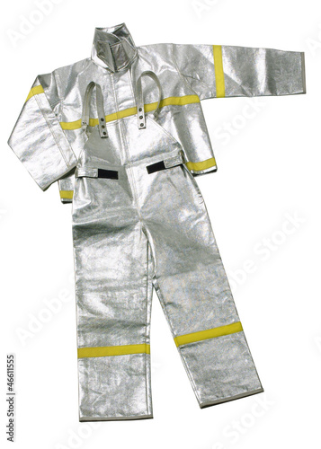 Anti fire uniform isolated on white