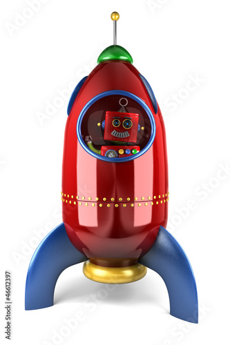Happy robot in rocket over white background