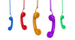 Five colored phones hanging