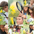 Family with magnifying glass nature spotting