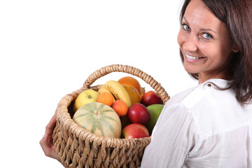 woman with fruit basket