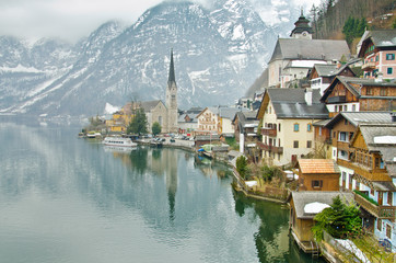 Beautiful winter Alpine Hallstatt Town and lake Hallstatter See