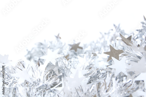 Silver star Christmas garland corner border or background