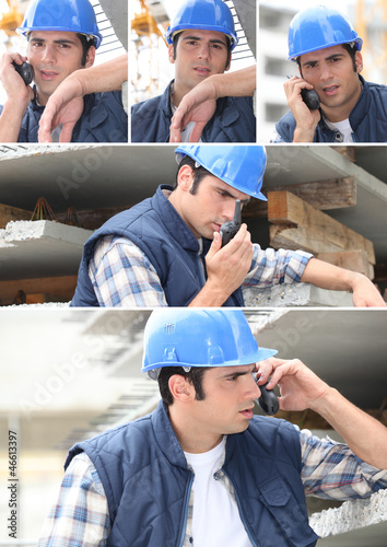 Collage of a construction worker and his walkie talkie