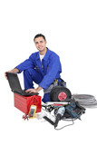 Tradesman with his tools poster