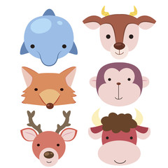 cute animal head icon04