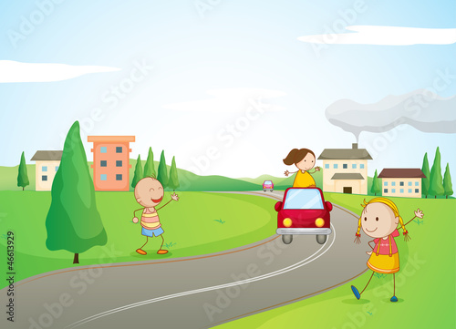 kids, a car and a road