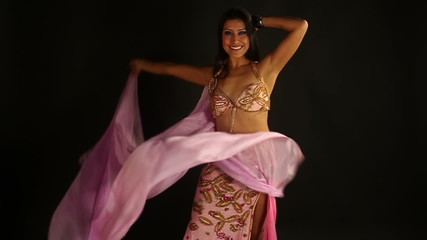 beautiful traditional oriental belly dancer studio shoot