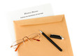 Divorce decree and envelope on white background