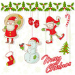 Cartoon collection of christmas characters