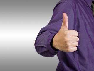 Businessman show thumb up before turn around