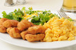 Breaded chicken with macaroni and cheese