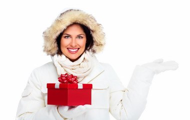 Beautiful christmas girl with gifts.