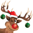 Rudolph the reindeer winking with hat and Christmas balls