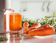 Fresh carrot juice and juicer