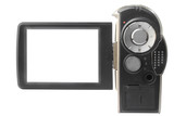 camcorder's blank LCD screen isolated on white