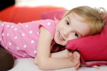Little toddler girl in pajamas