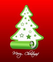 Christmas tree from paper, vector illustration