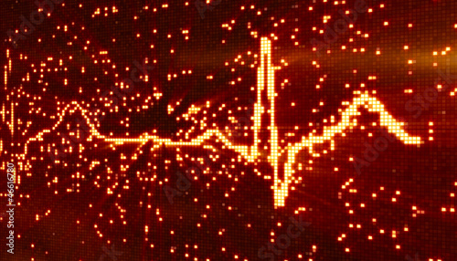 digital pixel EKG orange background