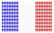 Bandiera francese formata da tante persone