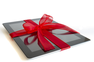 Digital tablet with christmas present