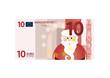 10 Euro Schein mit Weihnachtsmann - Vektor
