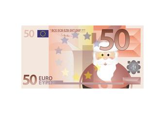 50 Euro Schein mit Weihnachtsmann - Vektor