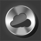 Vector metal button (knob)  with cloud icon