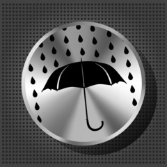 umbrella and rain drops with chrome volume knob on the metallic