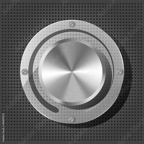 Chrome volume knob with transparency plate on the metallic backg