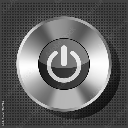 power button icon on the metallic background