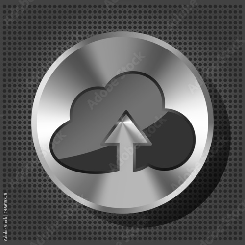 Vector metal button (knob)  with cloud icon and arrow